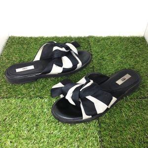 MIISTA Valerie Black White Bow Slide Sandals 9